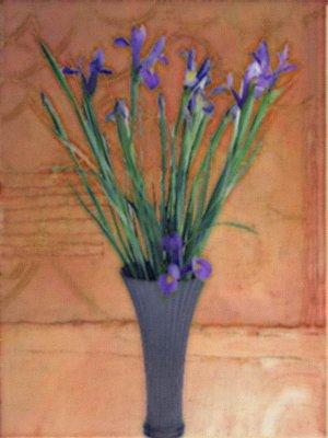 Vase of Purple Irises