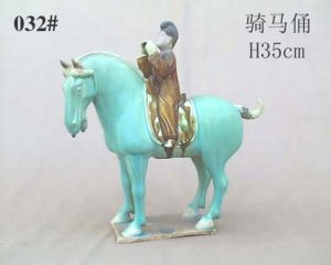 Handmade Tri-colored Pottery Horse Rider