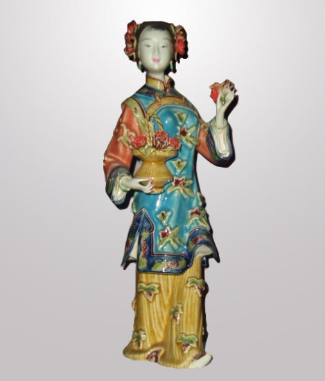 Wonderful Oriental Style Ceramic Lady Flower Seller