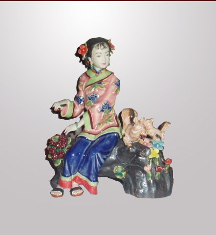 Handmade Ceramic Lady Playing with Squirrel