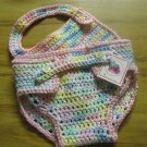 Cotton Candy Adjustable Crochet Diaper Cover and Bib Set 100% Cotton
