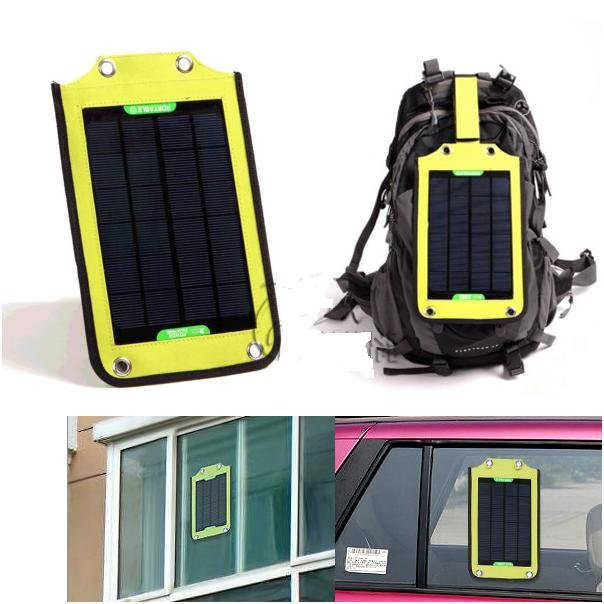 17% conversion 5W waterproof Solar powered hang in backpack Charger for all Moible Phone