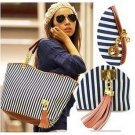 women's handbag stripe canvas bag chain tassel handbag fashion bag