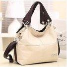 PU Leather bags women messenger bag grafting Vintage Shoulder Handbag Beige