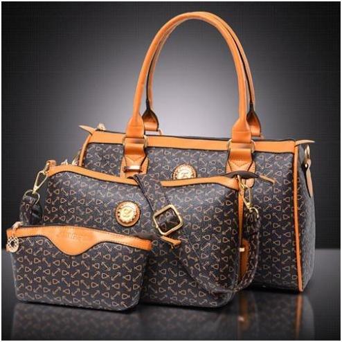 Fashion Ladies Bags Women Bags Dot Three Pieces Tote PU Shoulder Cross Body Black