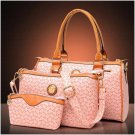 Fashion Ladies Bags Women Bags Dot Three Pieces Tote PU Shoulder Cross Body Bag Pink