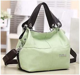 PU Leather bags women messenger bag grafting Vintage Shoulder Handbag Green