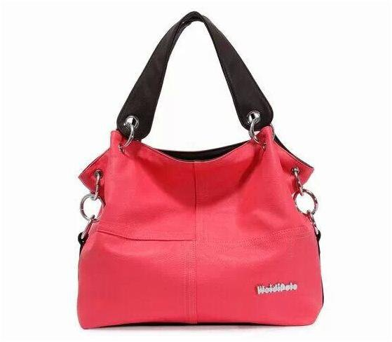PU Leather bags women messenger bag grafting Vintage Shoulder Handbag Pink