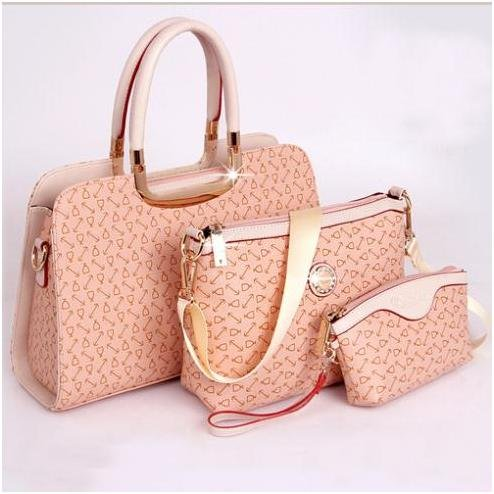 Elegant Womens PU Handbag Printing Shoulder Bags Three Bags Composite Bags Pink