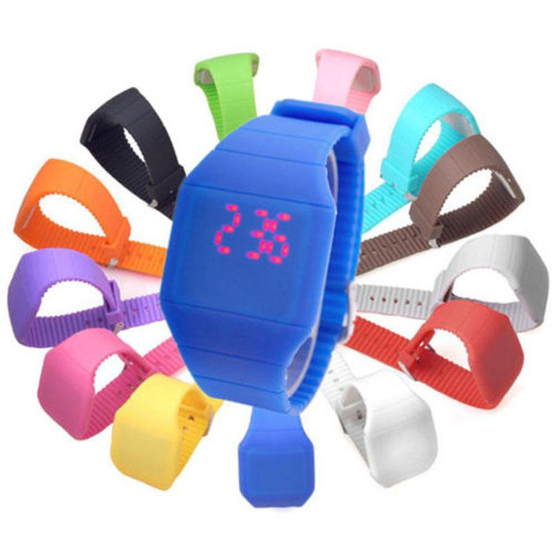 MENS WOMENS FASHION DIGITAL DISPLAY RED LED WATCH TOUCH SCREEN SILICONE WRISTWATCH
