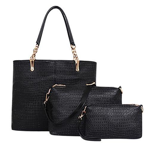 Womens Bags Three Packages Alligator Tote PU Shoulder Cross Body Bag Black