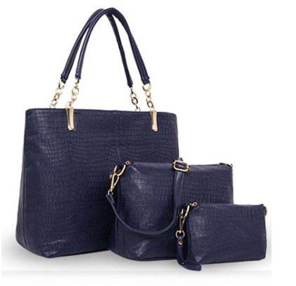 Womens Bags Three Packages Alligator Tote PU Shoulder Cross Body Bag Blu