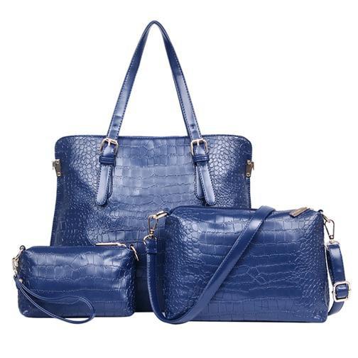 Ladies Bags Womens Bags Alligator Three Packages Tote PU Shoulder Messenger Bag Blu