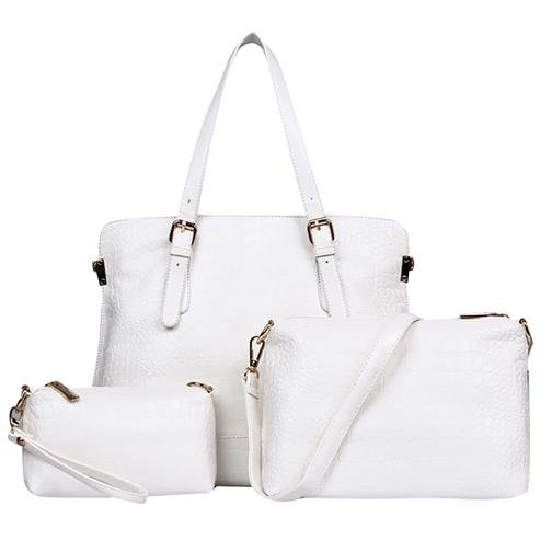 Ladies Bags Womens Bags Alligator Three Packages Tote PU Shoulder Messenger Bag White