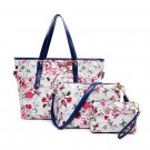 Womens PU Handbag Shoulder Bags Printing Three Bags Composite Bag Pink