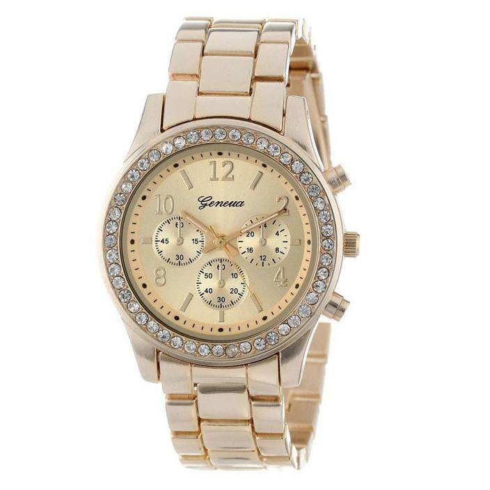 Quartz Watch Men Women Faux Chronograph CRT Plated Geneva Rose Gold Color