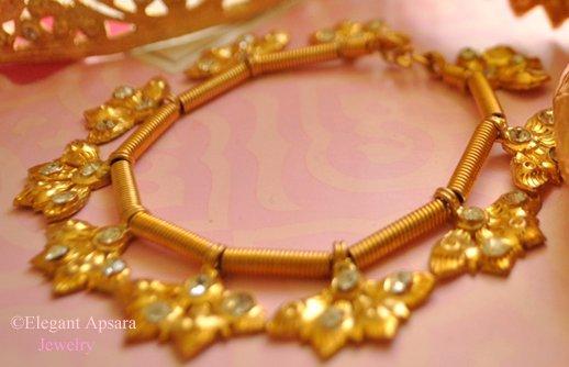 Khmer Gold Leaf Charm Bracelet Traditional Wedding Jewelry Cambodian