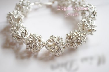 Khmer Silver Large Spacer Beads Balls Chucky Bangle Bracelet Traditional Wedding Jewelry Cambodian