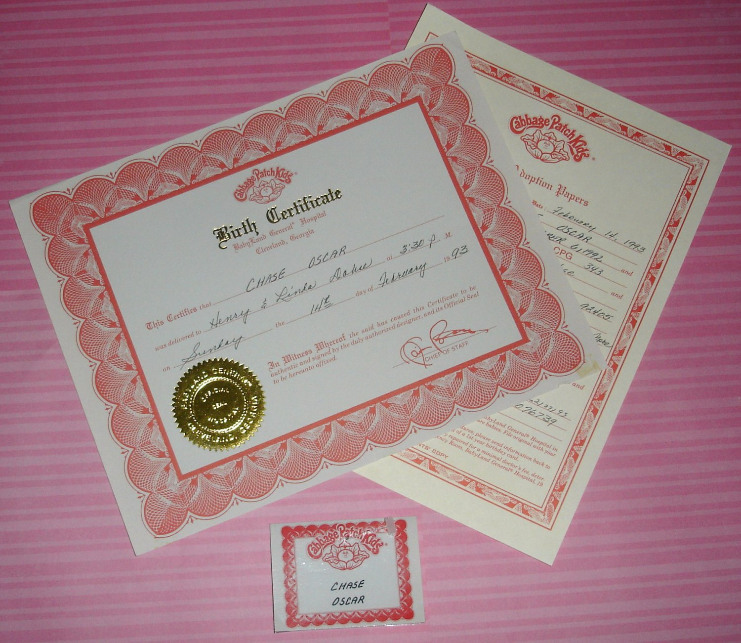 Cabbage patch soft sculpture doll platinum birth certificate lot chase oscar cpg 343 for Cabbage patch doll birth certificate