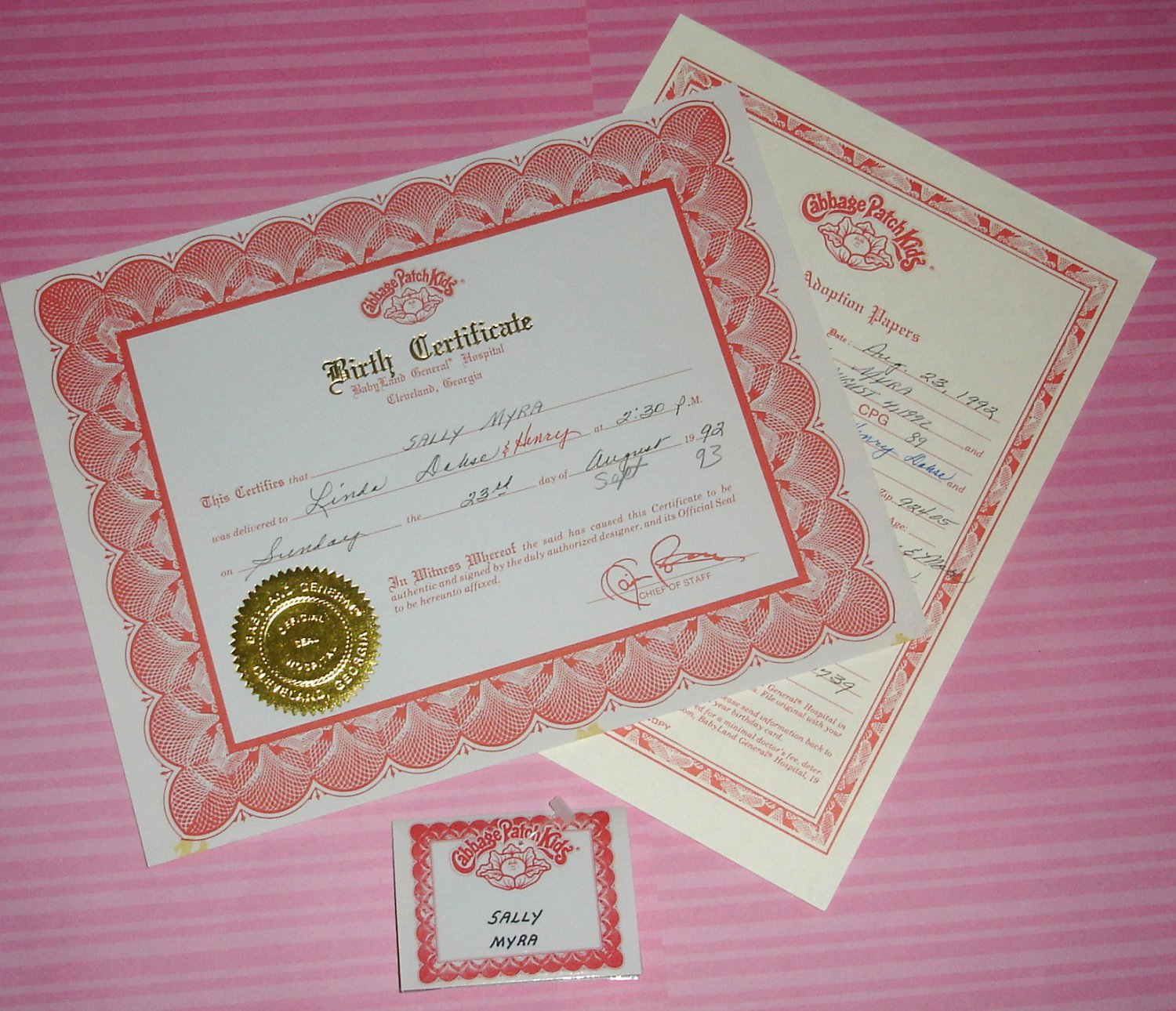Birth certificate template for dolls choice image certificate doll birth certificate template gallery templates example free yadclub Choice Image