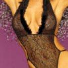 Fantasy Sexy Halter Neck Marabou Trim Bodysuit