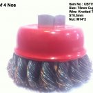 Lot of 4 Cup Brush 75mm Twisted Wire Type with M14*2 Nut