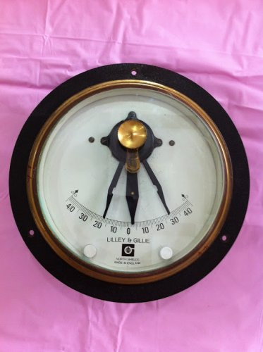 Lilley & Gilley Marine Inclinometer with lights. Made of Marine Quality Brass.