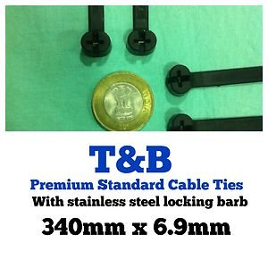 100 Pack of T&B Ty-Rap Premium Standard Cable Tie 340mm X 6.9mm Black Polymaide