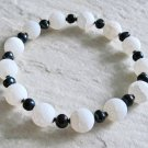 Black & White! Frosted White Dragon's Vein Agate, Black Freshwater Pearls & Sterling Silver Bracelet