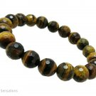 Gleaming Faceted Brown & Yellow Tiger's Eye Chunky Bracelet