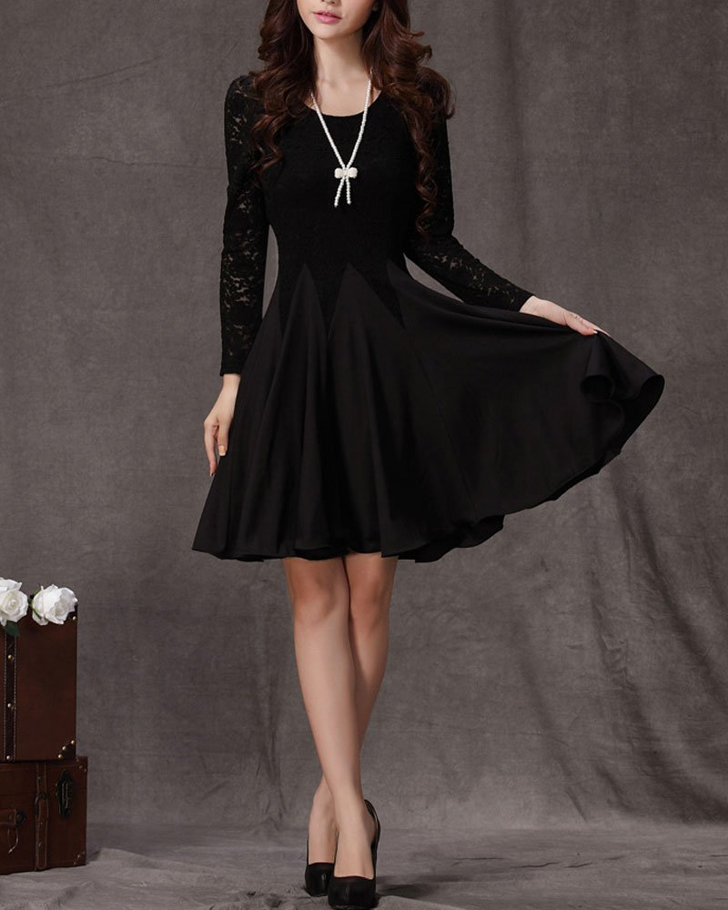 Little Black Dress - Long Sleeve Black Lace Dress - Fit and Flare Dress CD3