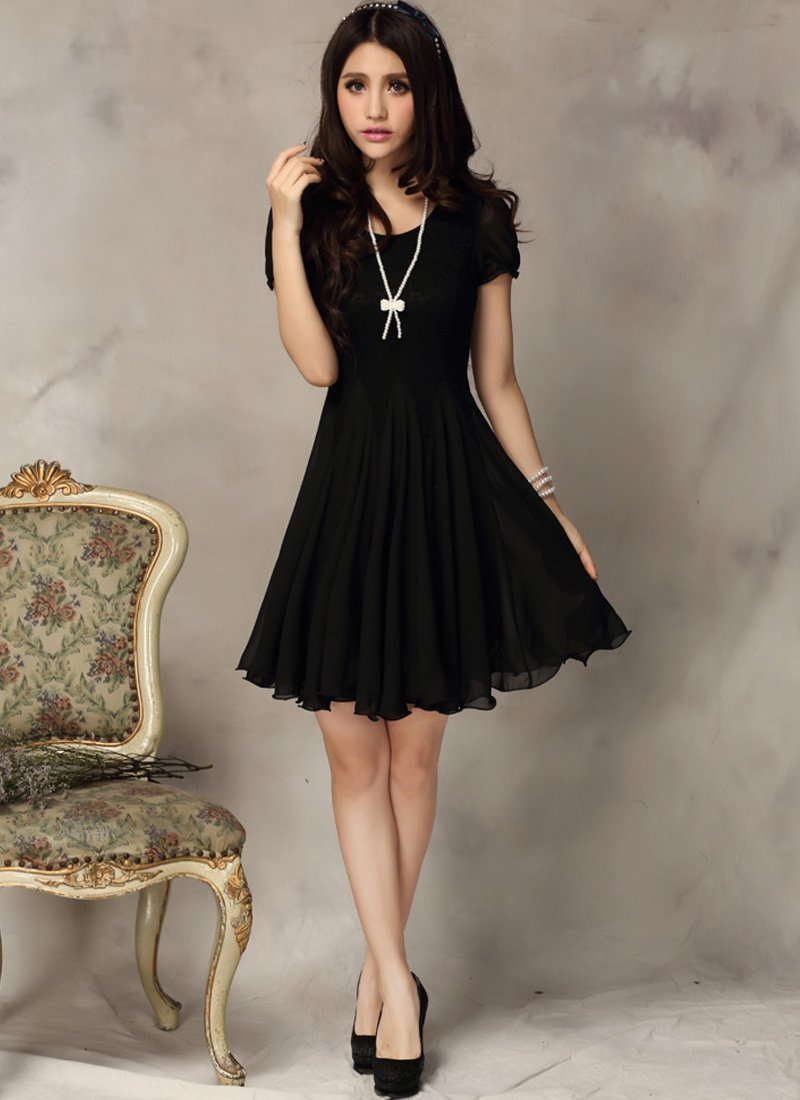 Little Black Dress - Black Lace Dress - Fit and Flare Dress CD3