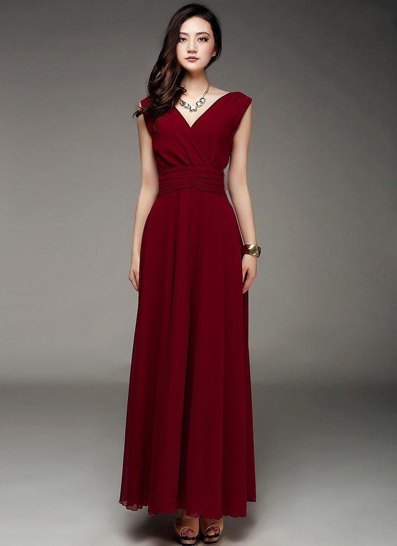 V Neck & V Back Burgundy Maxi Dress with Ruched Waist Yoke RM53