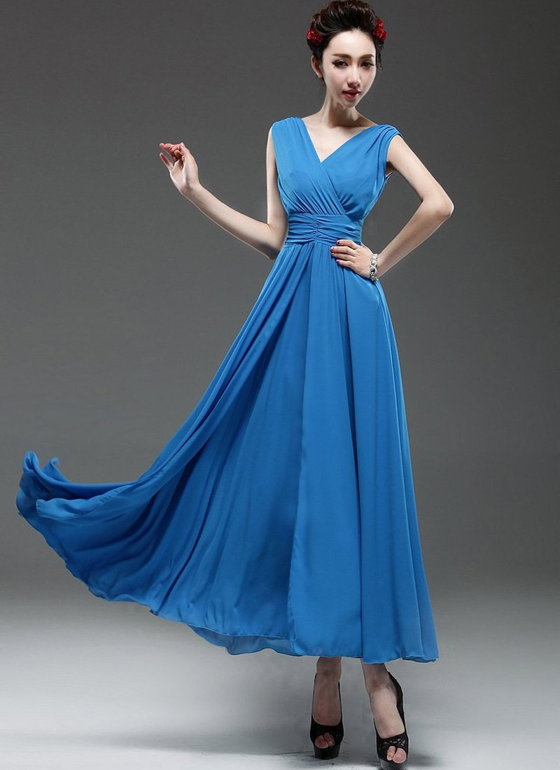 V Neck & V Back Blue Maxi Dress with Ruched Waist Yoke