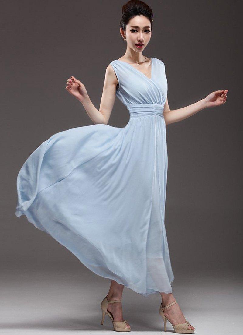 V Neck & V Back Light Blue Maxi Dress with Ruched Waist Yoke RM53