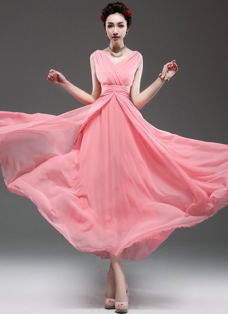 V Neck & V Back Coral Maxi Dress with Ruched Waist Yoke RM53