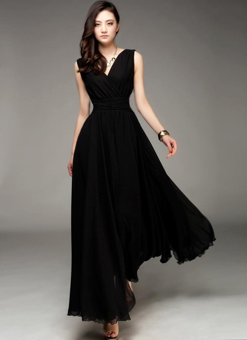 V Neck & V Back Black Maxi Dress with Ruched Waist Yoke RM53