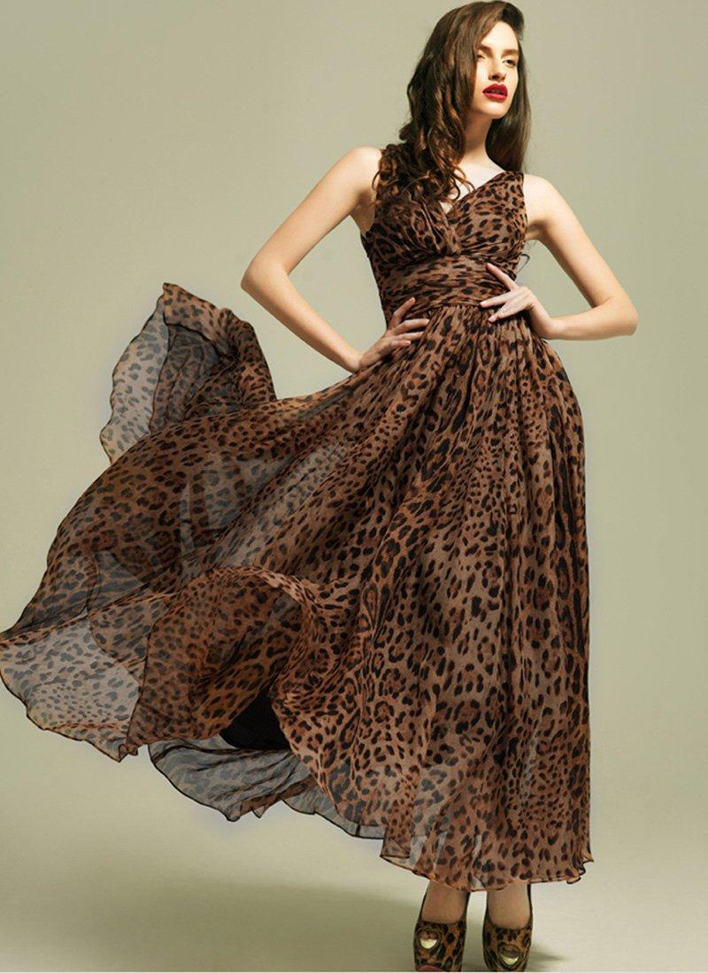 Leopard Printed Maxi Dress with V Neck & V Back Design RM9