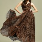 Leopard Printed Maxi Dress with V Neck & V Back Design RM9