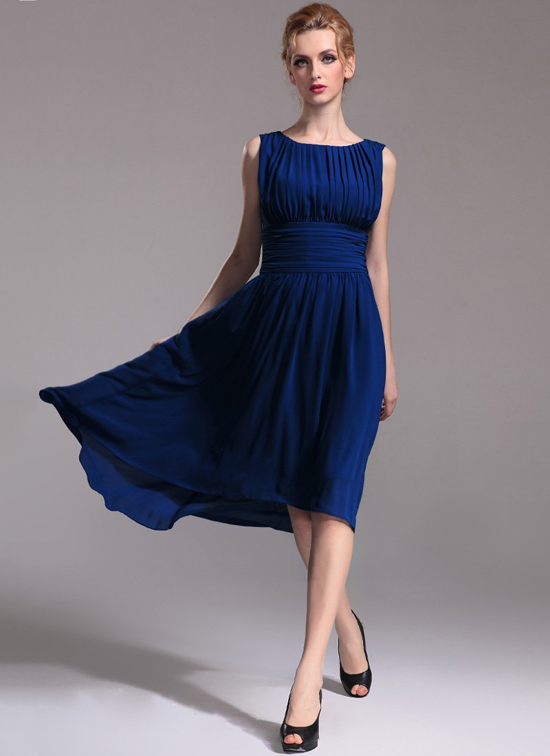Pleated Blue Hi Lo Hem Dress with Empire Waist