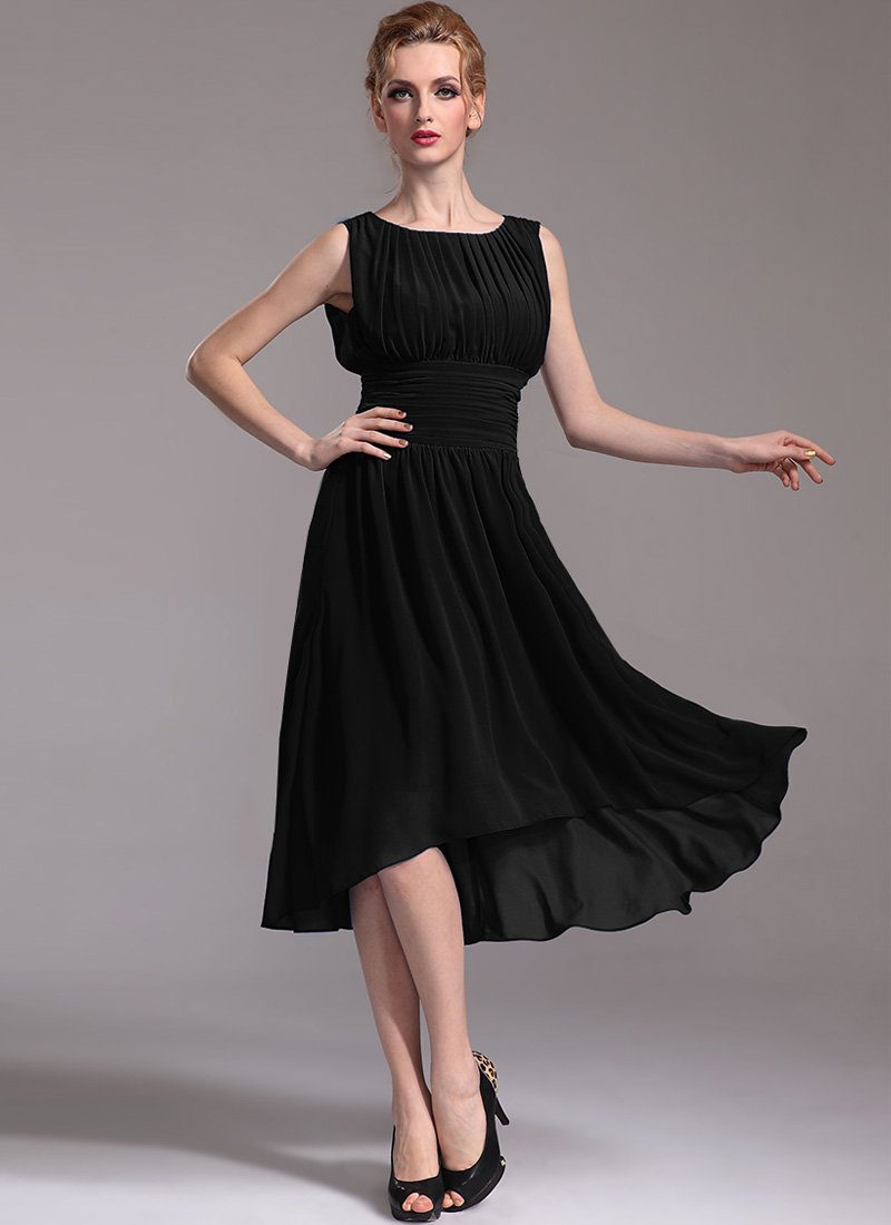 Pleated Black Hi Lo Hem Dress with Empire Waist - Black Tea Dress R25