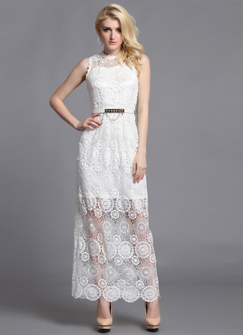 V Back White Lace Maxi Dress RM24