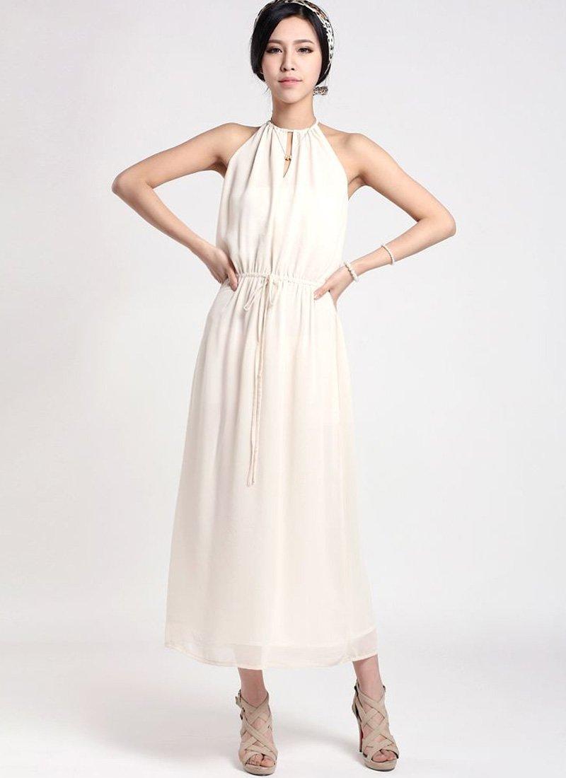 White Halter Tea Dress with Draw String Waist RM37
