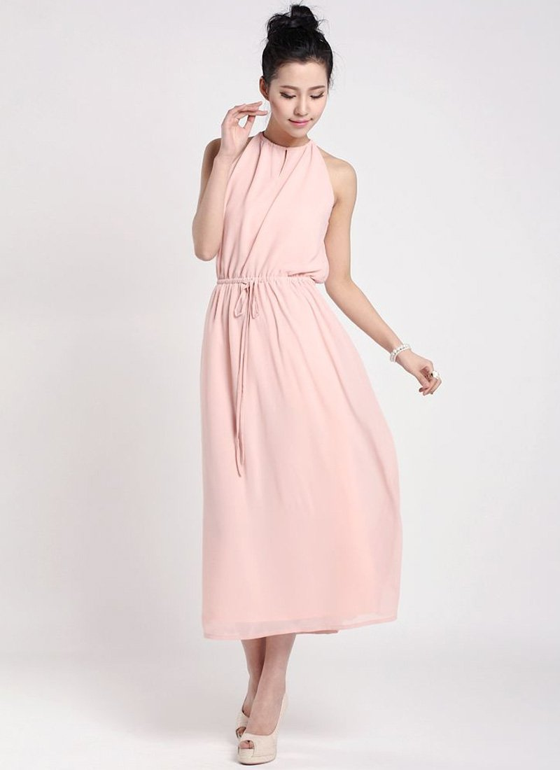 Pink Halter Tea Dress with Draw String Waist RM37