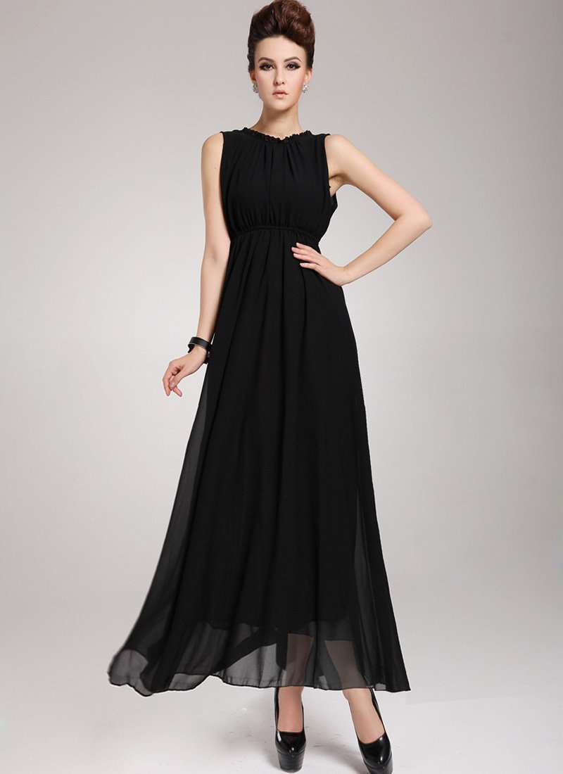 Black Maxi Dress with V Back Design RM 44