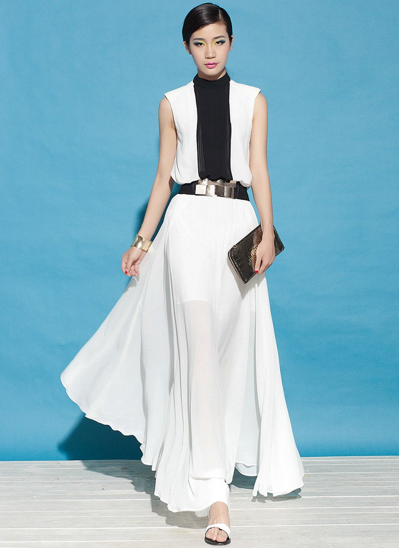 Stand Collar White Maxi Dress with Black Insertion RM55
