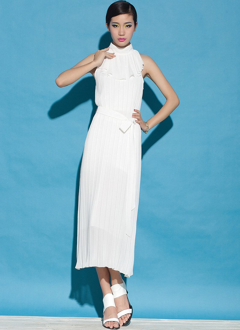 Pleated White Midi Dress with Draped Neck RM56
