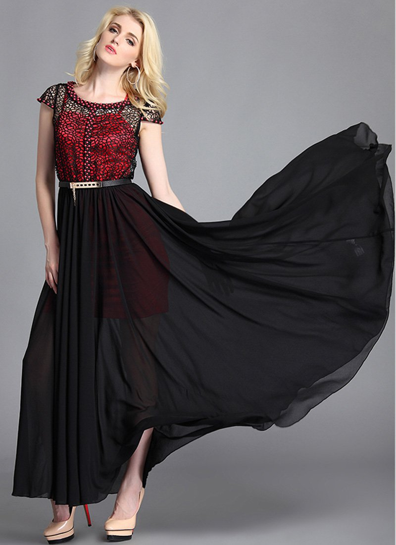 Beaded Black Lace Chiffon Maxi Dress with Red Slip RM63
