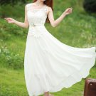 White Sunflower Lace Peplum Maxi Dress with Free Slip RM72