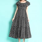 Off-Shoulder Black Polka Dot Midi Dress with Tired Skirt Design RM73